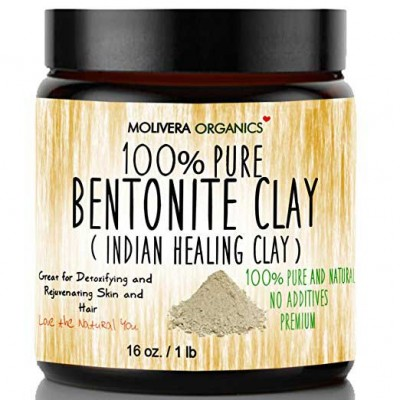 Molivera Organics 100% Pure  Bentonite Clay (Indian Healing Clay) for Detoxifying and Rejuvenating Skin and Hair