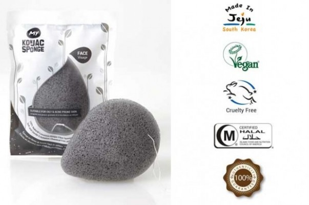 MY Konjac Sponge All Natural Korean Facial Sponge with Activated Bamboo Charcoal